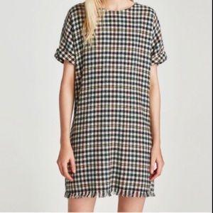 Zara Short Sleeve Houndstooth Fringe Hem Dress
